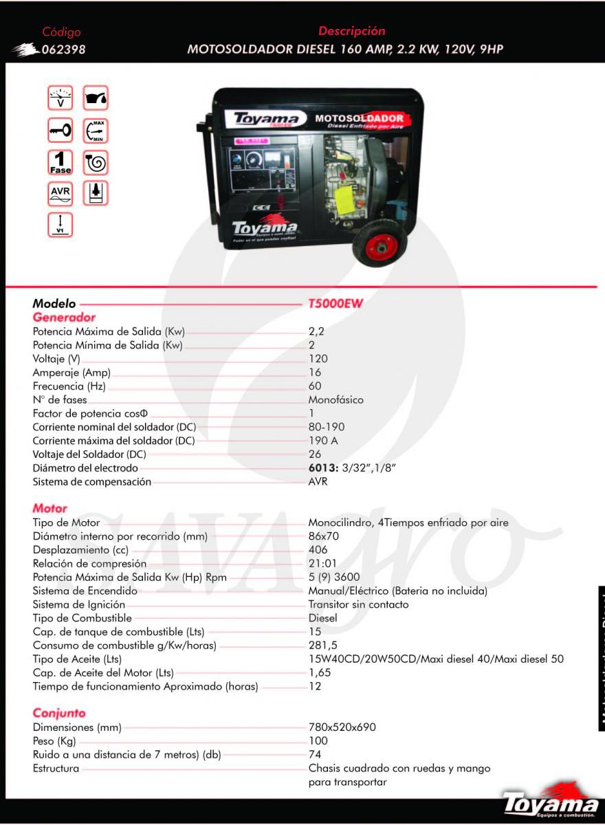 Motosoldador Diesel 160 apm, 2,2 kwT5000EW 062398
